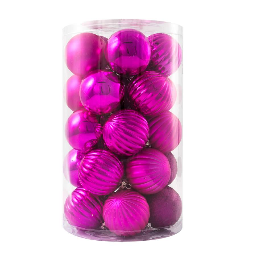 Rose Pink Patterned Baubles 60mm