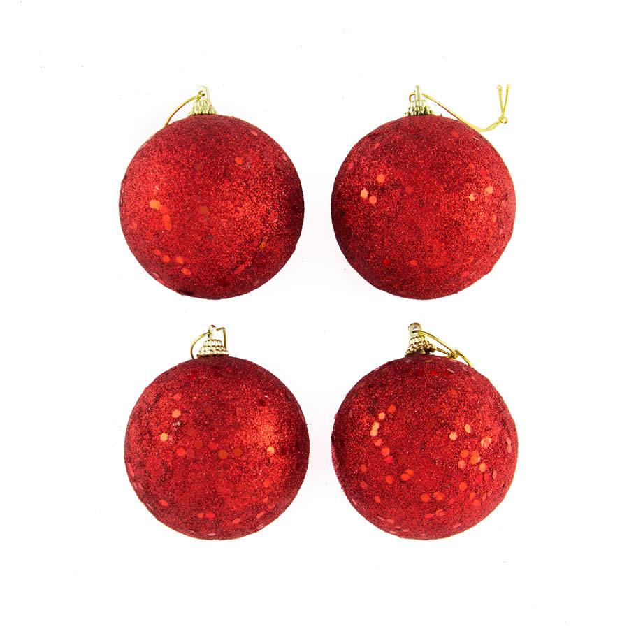7cm Red Glitter Bauble 4pk