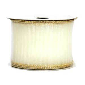 White Ribbed Gold Edge Ribbon 9M
