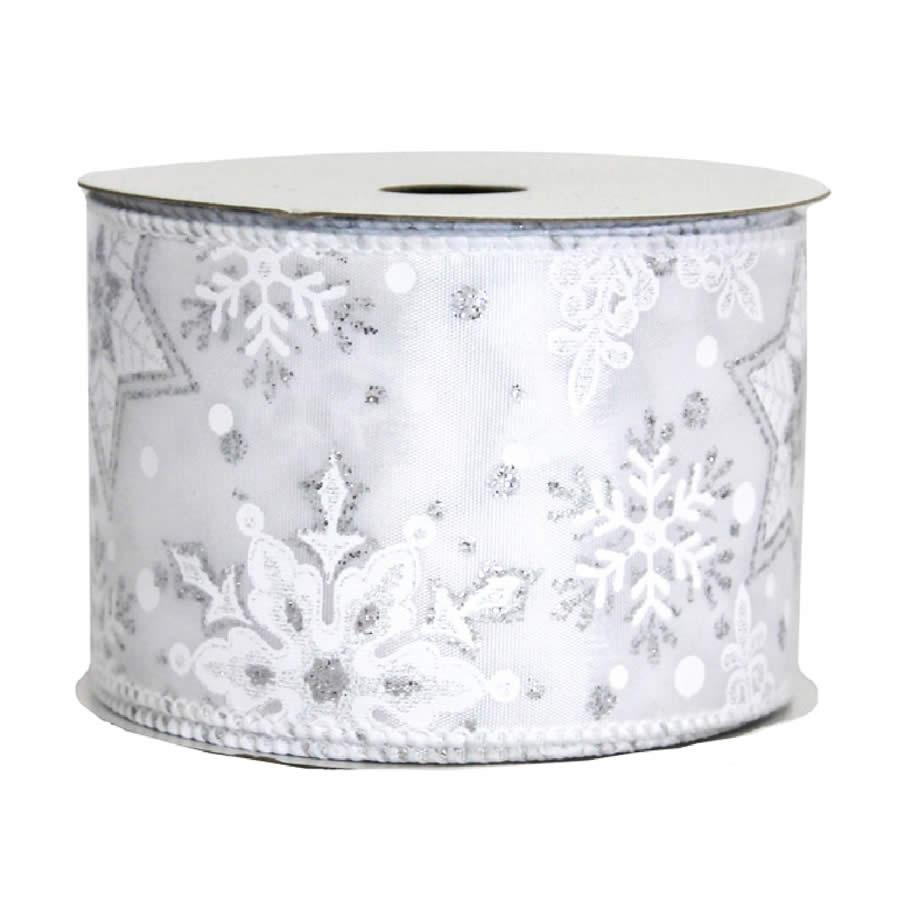 Silver Snowflake Ribbon 9M