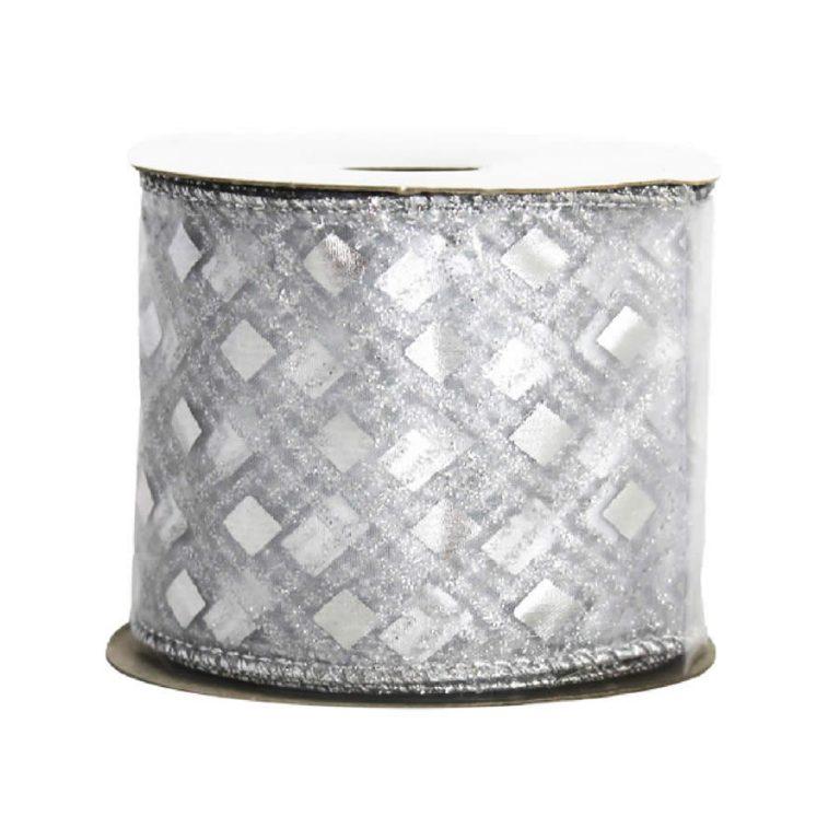 Silver Diamond White Ribbon 9M