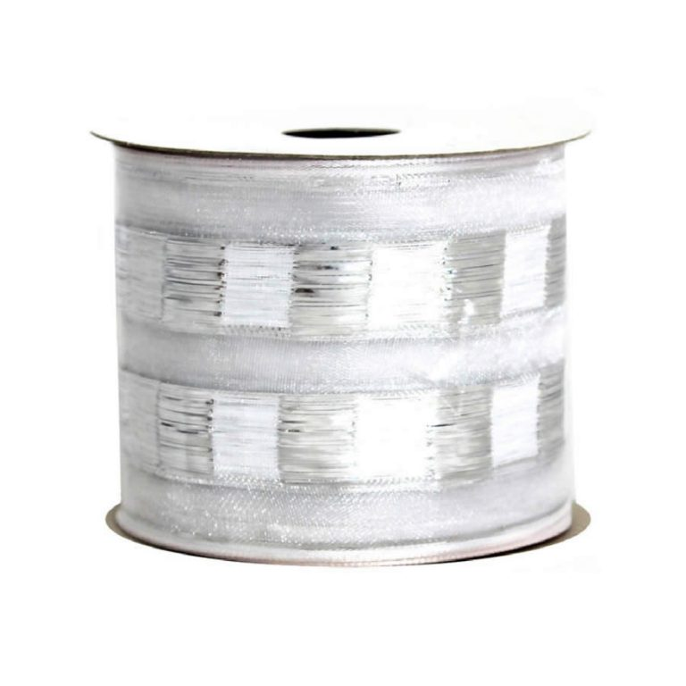 Silver-White Metallic Mosaic Ribbon 9M
