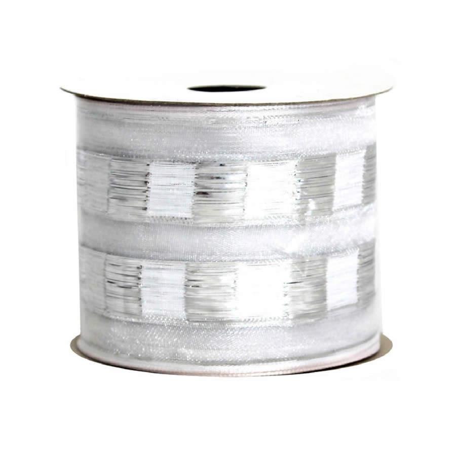 Silver-White Metallic Mosaic Ribbon 9M