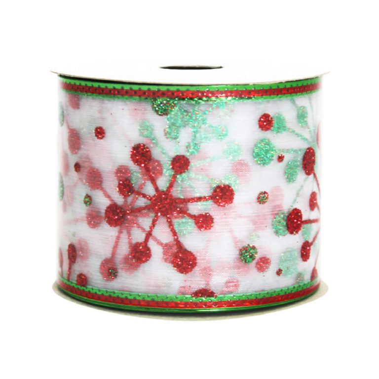Red-green Glittered Snowflake Ribbon