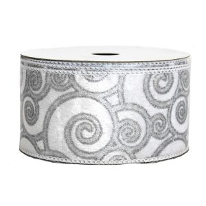 Silver Swirl Brushed Satin Ribbon 9M