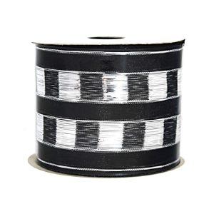 Silver-Black Checker Stripe Ribbon 9M