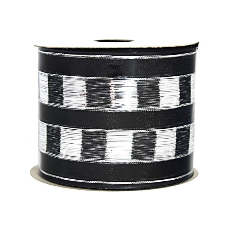 Silver-Black Checker Stripe Ribbon 9M