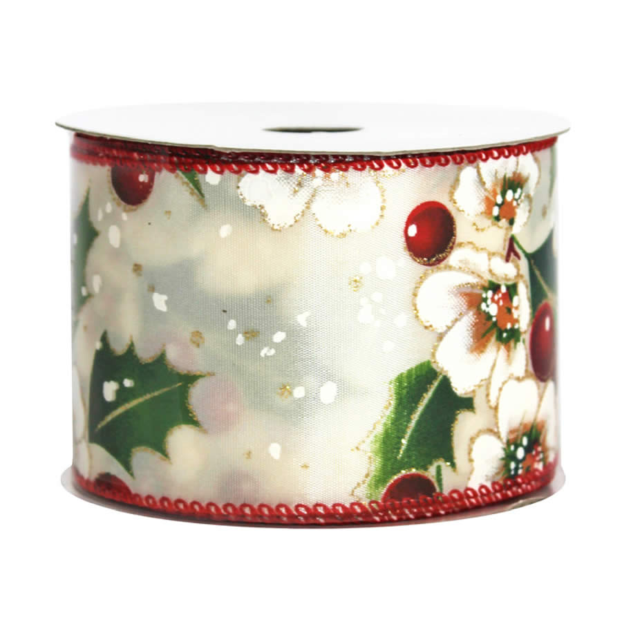 Berry Holly Leaf Ribbon 9M