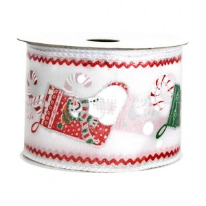 Xmas Stocking Taffeta Ribbon 9M