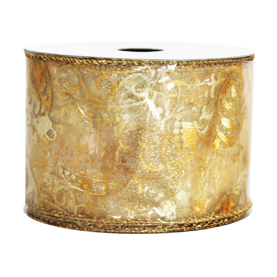 Gold Bauble Sheer Metallic Ribbon 9M