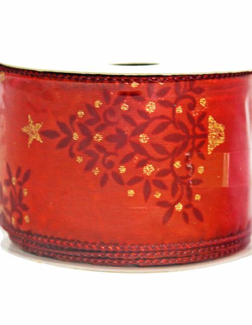 Burgundy Flocked Red Ribbon 9m