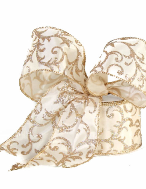 Glittered Floral Gold Taffeta Ribbon 9M