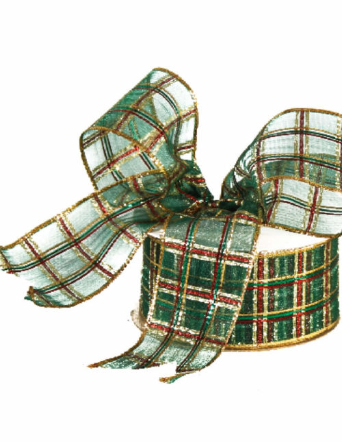 green Christmas Plaid Ribbon 9M