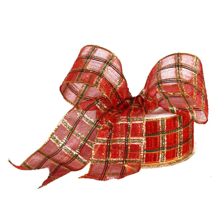 Red Christmas Plaid Ribbon 9M