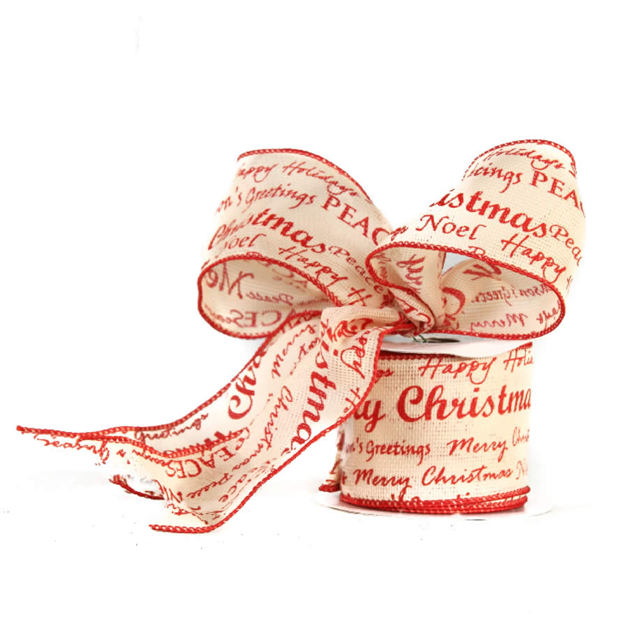 Red Christmas Script Linen Ribbon 9M