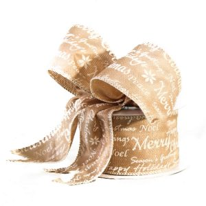 Tan Christmas Script Linen Ribbon 9M