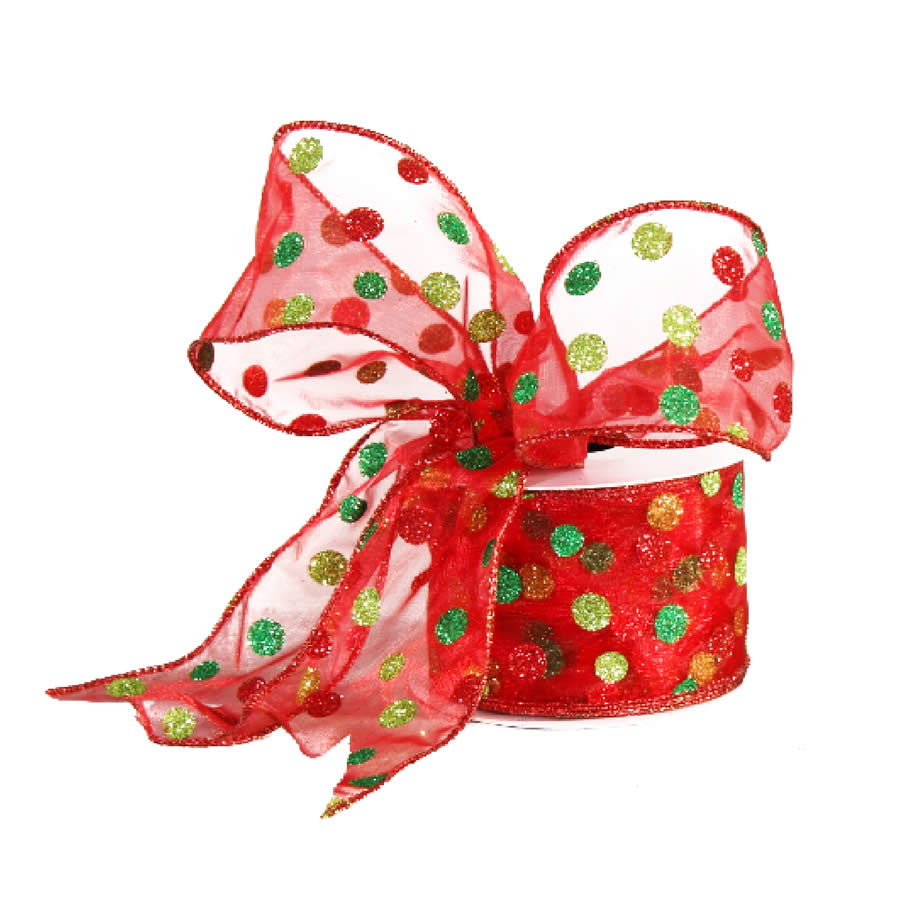 Glitter Dots Christmas Ribbon 9M