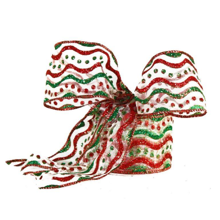 Metallic Waves Christmas Ribbon 9M