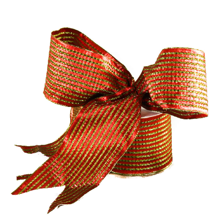 Red & Lime Stripe Wide Ribbon 9M