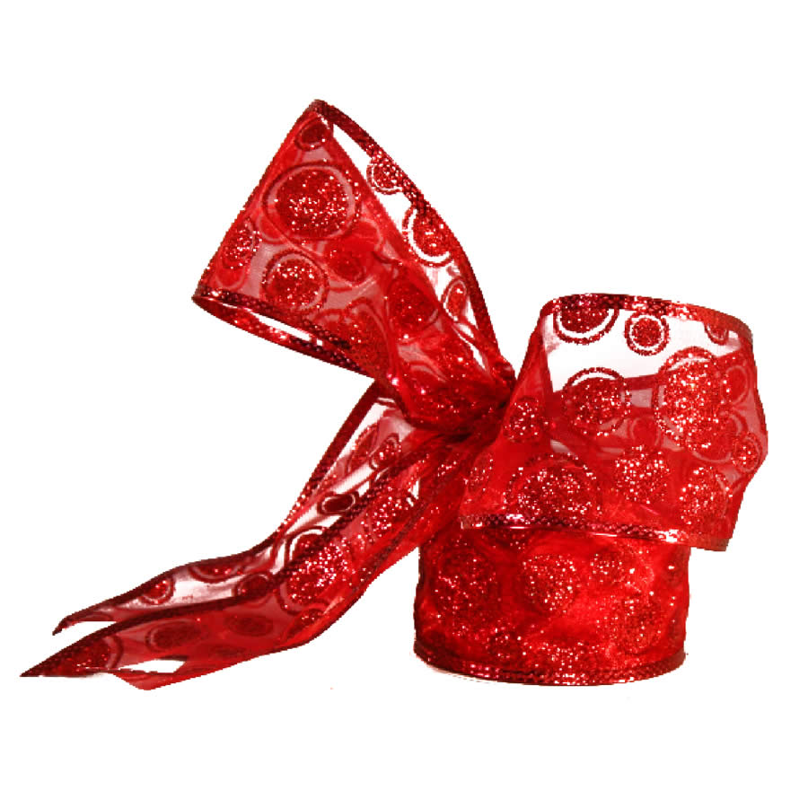 Red Glitter Swirl Ribbon 9M