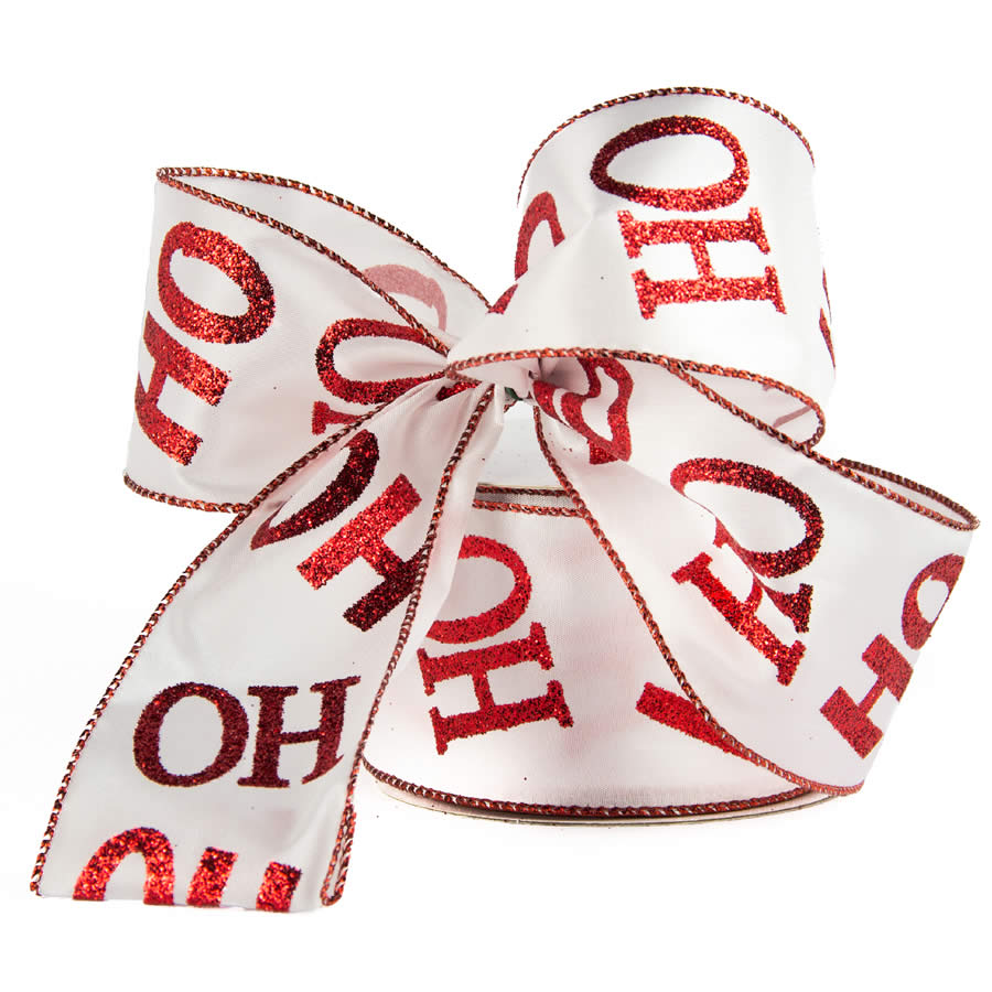 Ho Ho Ho Red & White Ribbon 9M
