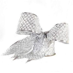 Sheer White Silver Glitter Ribbon 9M