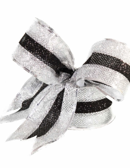 Black & Silver Edge Ribbon 9M