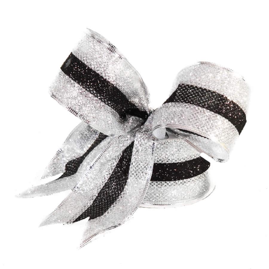 Black & Silver Edge Ribbon 9M