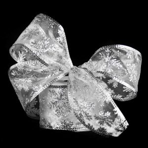 Silver Glittered Snowflake Ribbon 9M