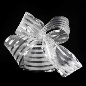 Silver Metallic Strip Ribbon 9m