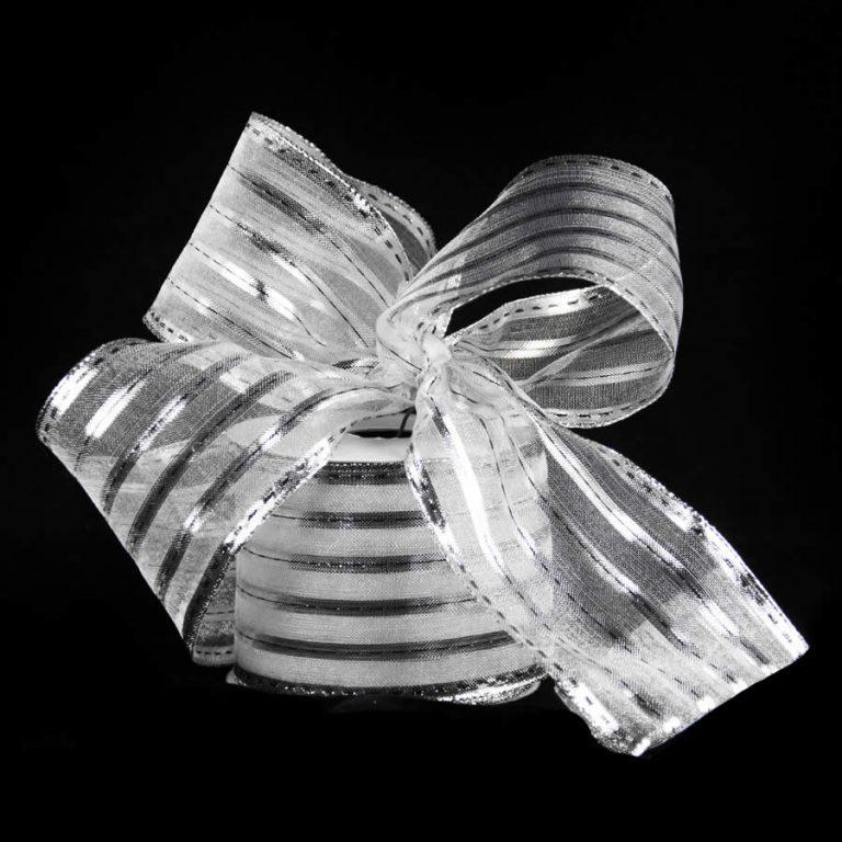 Silver Metallic Strip Ribbon 9m