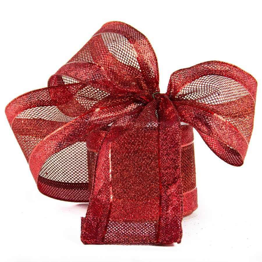 Red Glitzy Mesh Ribbon 10cm * 9m