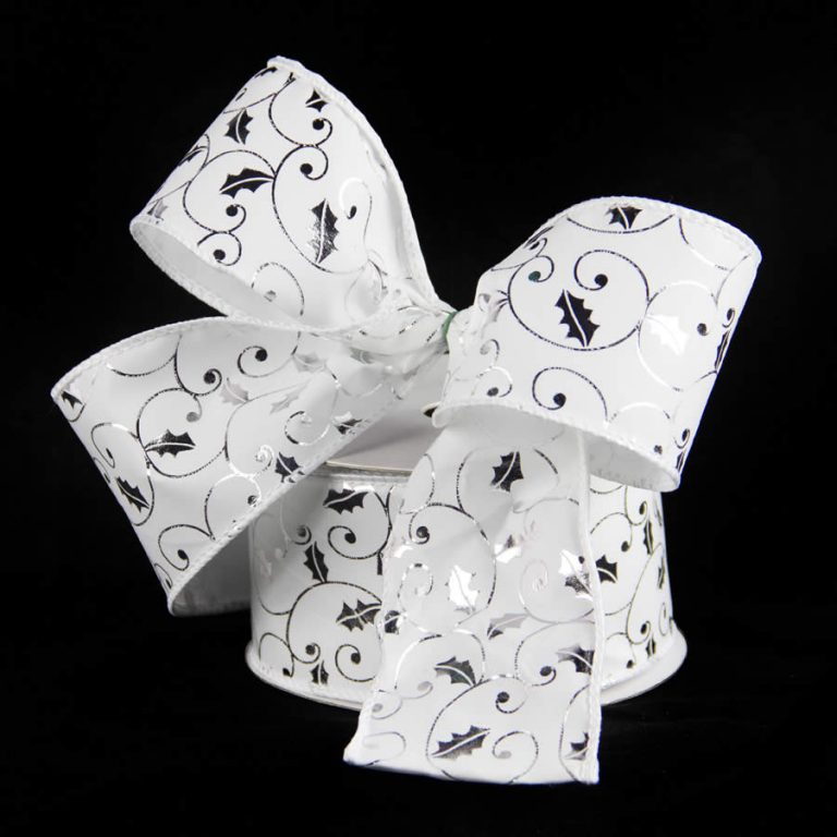 White Silver Holly Velvet Ribbon Flocked 9m