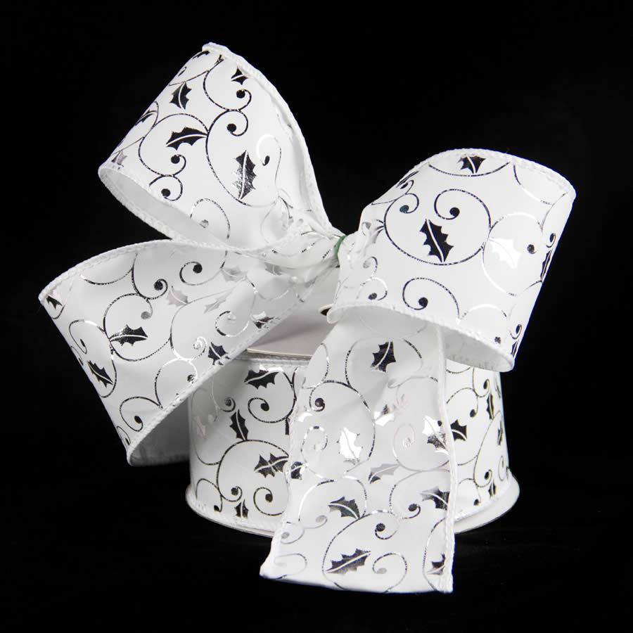 White Silver Holly Velvet Ribbon Flocked 9m