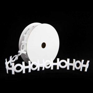 HO HO HO White Cut out ribbon 9m