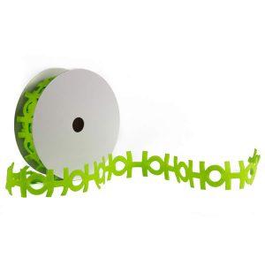 HO HO HO Lime Cut out ribbon 9m