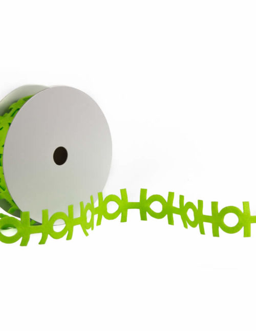 HO HO HO Lime Cut out ribbon 9m
