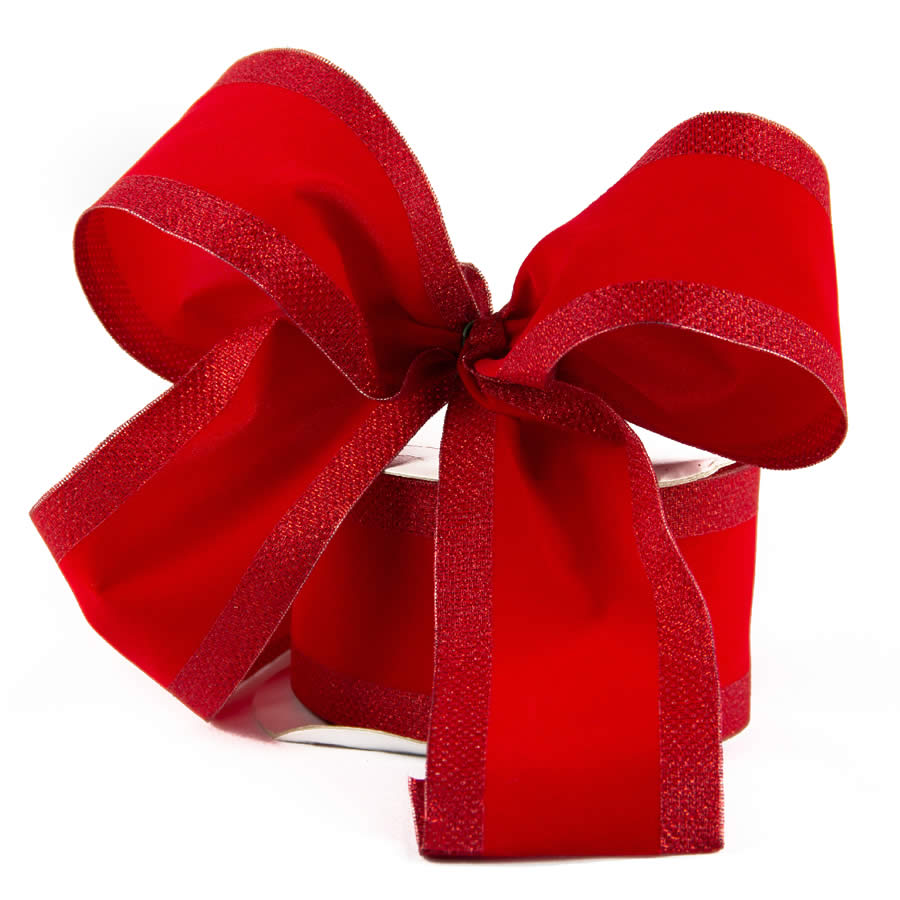 Red Flocked Metallic Border Ribbon 9m
