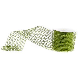 Green Metallic Crochet Ribbon 10cm * 9m