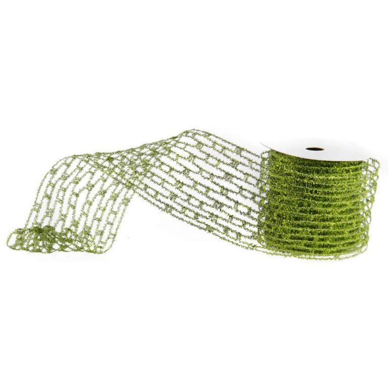 Green Metallic Crochet Ribbon 10cm * 9m