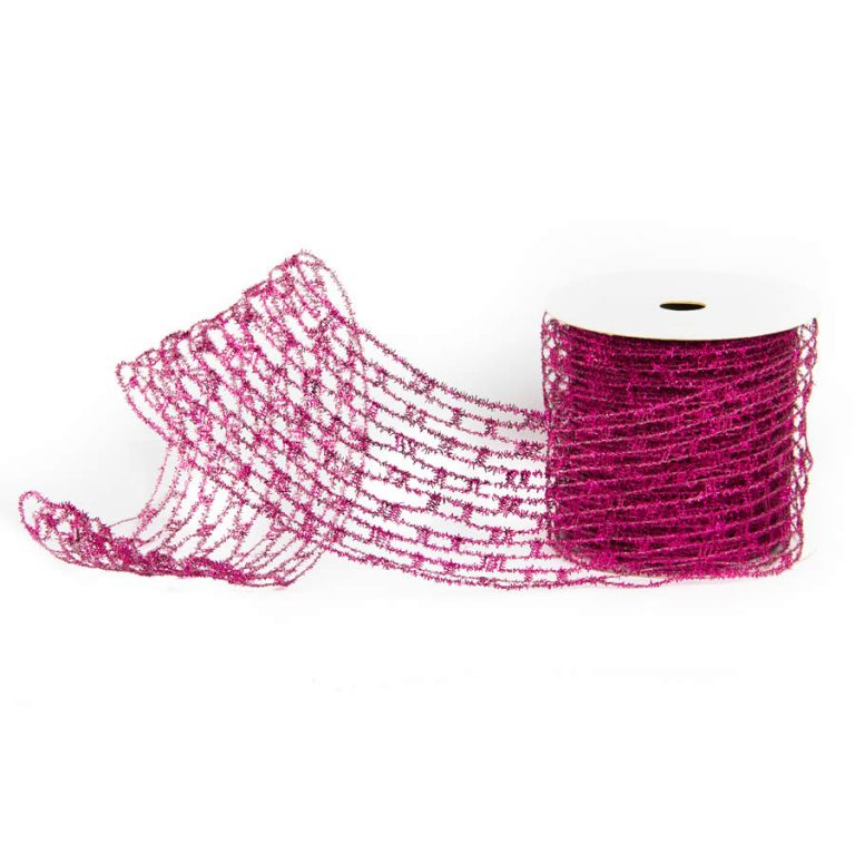 Magenta Metallic Crochet Ribbon 10cm * 9m
