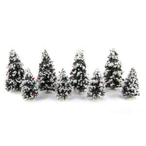 Snowy Xmas Trees set o f8
