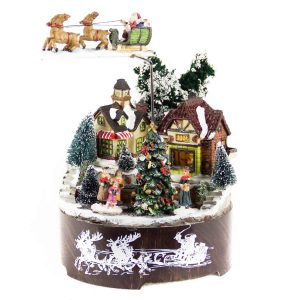 Flying Sleigh Christmas Village anim/music/bop