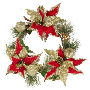 Glitter Poinsettia & Apple Wreath - 25cm