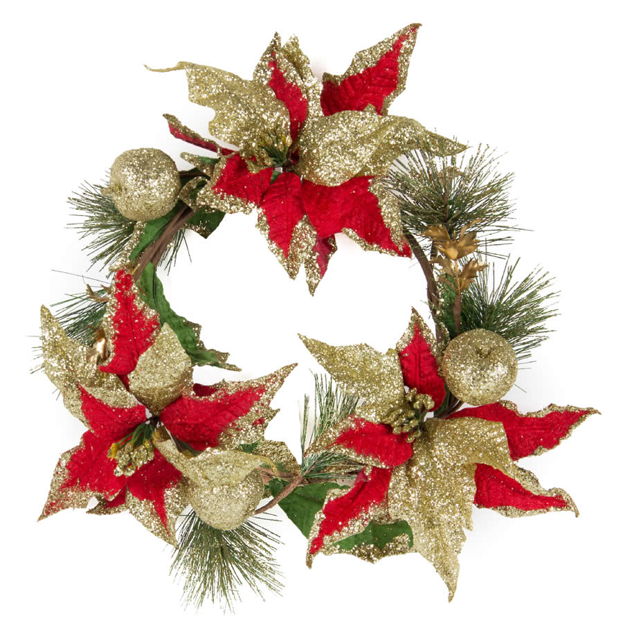 Glitter Poinsettia & Apple Wreath - 25cm