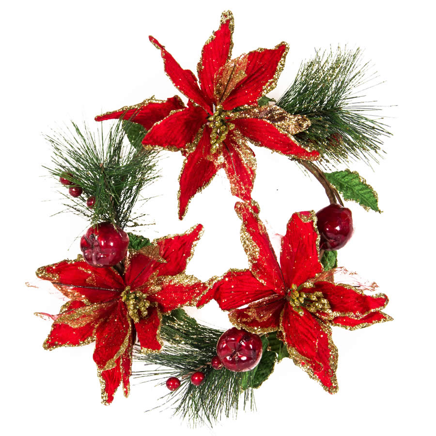 Poinsettia & Apple Wreath