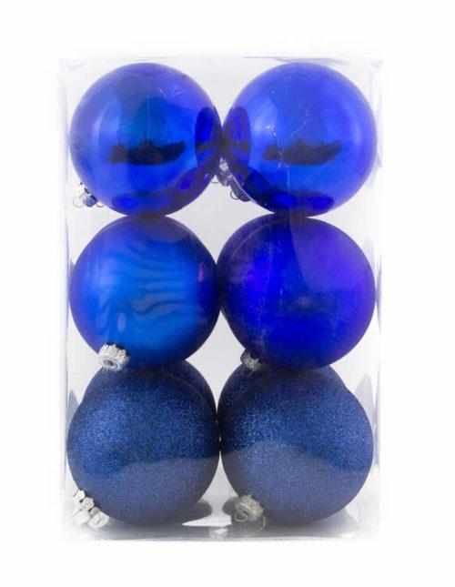 Blue Baubles 8Cm 12Pk