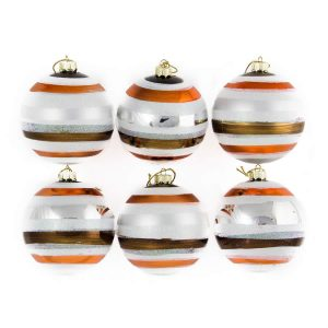 Striped Baubles 8Cm 6Pk