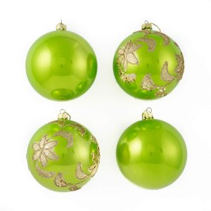 Lime Glitter Star Baubles 10Cm 4Pk