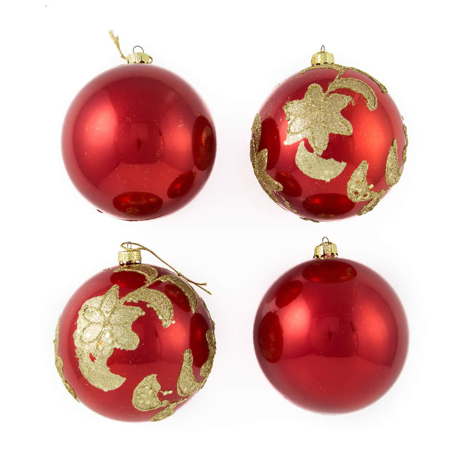 Red Glitter Star Baubles 8Cm 4Pk